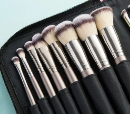 Professional Makeup Brush Set with White and Black Hair